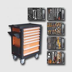 CORONA Montážní vozík na nářadí kovový vybavený 253dílů 770x460x970mm