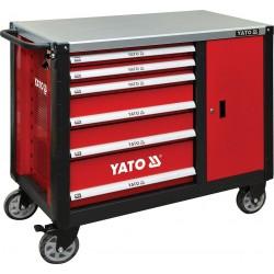 YATO Skříňka dílenská pojízdná 6 zásuvek +zavírací skříň červená YT-09002