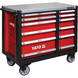 YATO Skříňka dílenská pojízdná 6+6 zásuvek červená YT-09003