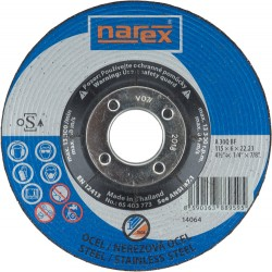 NAREX 115×6×22.2 A30 BF - Brusný kotouč na ocel vypouklý